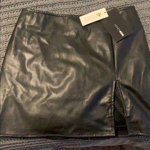 Fashion Nova faux leather skirt with slit